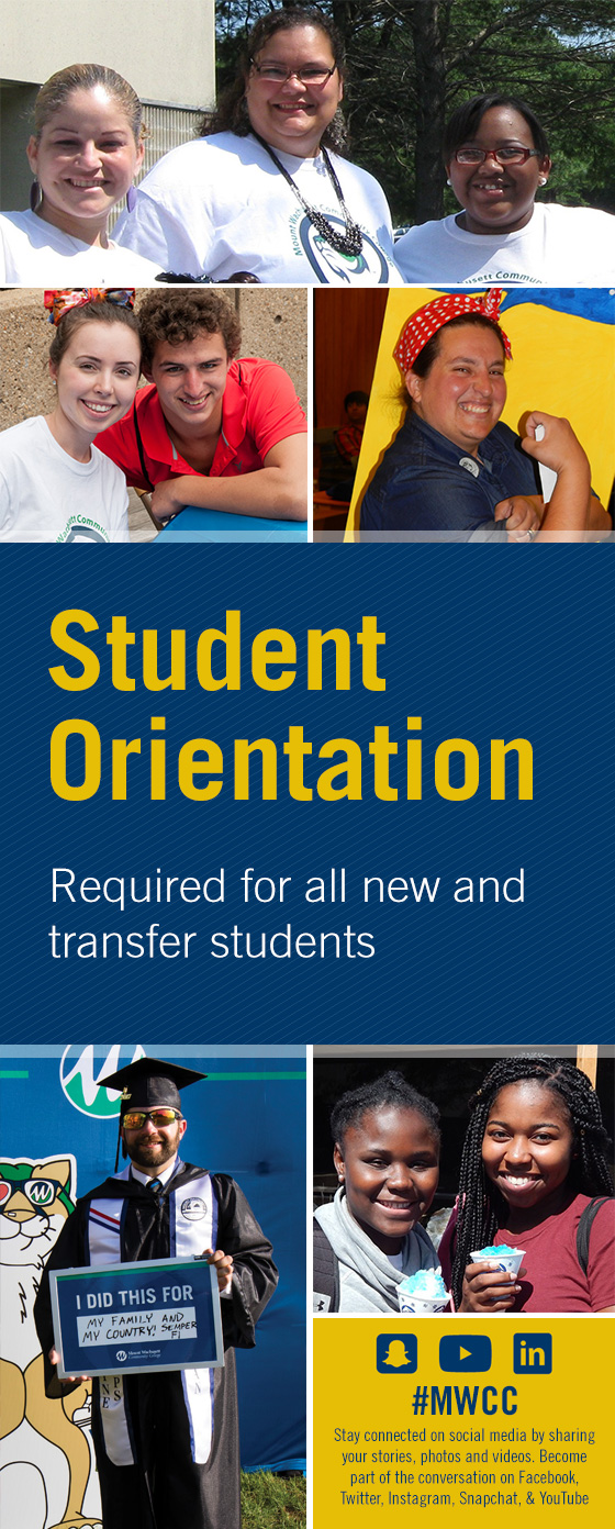 Student Orientation - side banner; Stay connected on social media by sharing your stories, photos and videos. Become part of the conversation on Facebook, Twitter, Instagram, Snapchat, and YouTube